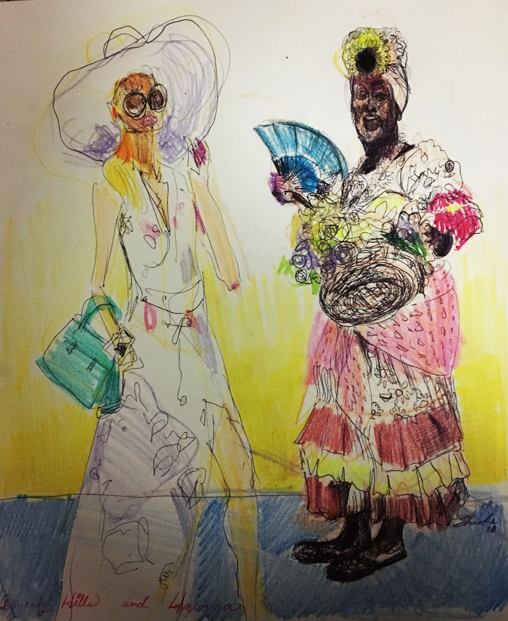 BEVERLY HILLS AND HAVANA, WATERCOLOR, ACRYLIC, INK, PEN, CRAYON AND COLOR PENCIL ON RECYCLED SKETCH