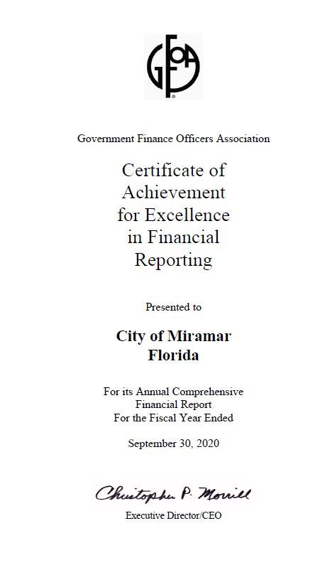 GFOA - Certificate of Achievement for Excellence in Financial Reporting - 2018